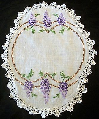 Vintage Linen Doily Hand Embroidered Mauve Wisteria