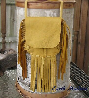Native Medicine Bag Lg Gold Deer Leather William Lattie Cherokee Cert of Auth