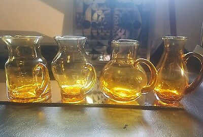 Vintage Amber Crackle Glass Vase Mini Pitcher Lot of 4 Yellow Gold
