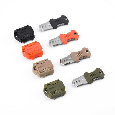 EDC Survival Pocket Knife Outdoor Shiv Mini Stainless Steel Molle Webbing Buckle