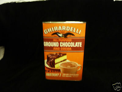 Vintage GHIRARDELLI Tin - Ground Chocolate & Instant Cocoa 16oz.  Empty