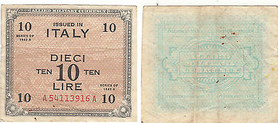 Italy Allied Military Currency 10 Lire Note,series Of 1943,#a54113916A