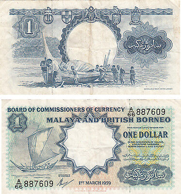 Board Of Comm Of Currency Malaya And British Borneo $1 Banknote,p#8,1959,#887609