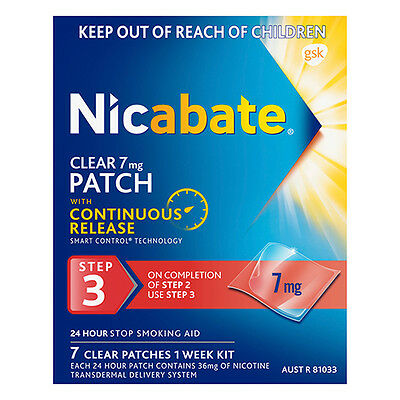 Nicabate CQ Clear 7mg Patches 7 On Completion Of Step 2 Use Step 3