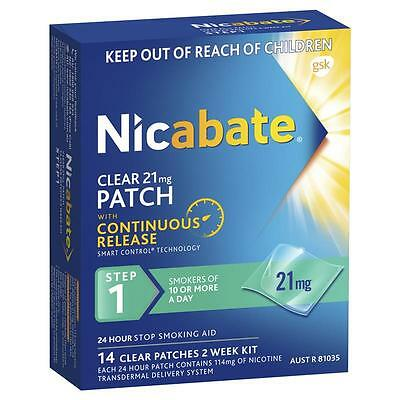 Nicabate CQ Clear 21mg Patches 14 Patches Step 1 Smokers of 10 or more a day