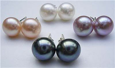 Wholesale Natural White Akoya Freshwater Pearl 925 Sterling Silver Stud Earrings