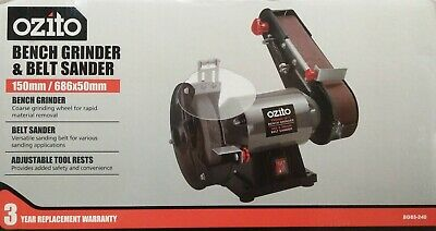150mm Bench Grinder & Belt Sander 240W Induction Motor Safety Shields