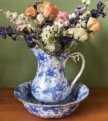 Royal Winton Pitcher Vase and Basin Bowl Server in Blue Welbeck Chintz China NEW