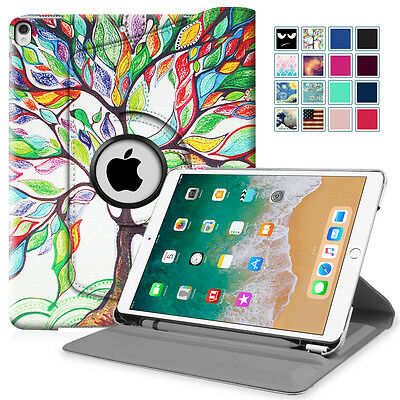 For Apple iPad Pro 10.5 2017 Rotating Case Stand Cover w/ Apple Pencil Holder