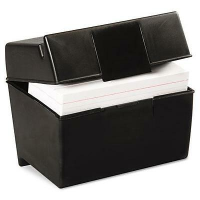 Oxford Plastic Index Card Flip Top File Box Holds 400 4 x 6 Cards, Matte B 01461