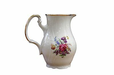 Vintage Bernadotte Bohemian Bone China Floral Water Jug Pitcher Czech Republic
