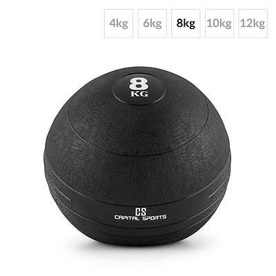 Capital Sports Groundcracker 8Kg Home Fitness Training Slamball Black Rubber