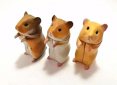 3 Pcs Japan Furuta Kaiyodo Wild, Brown-White, Beige Hamster Pet Animal Figure
