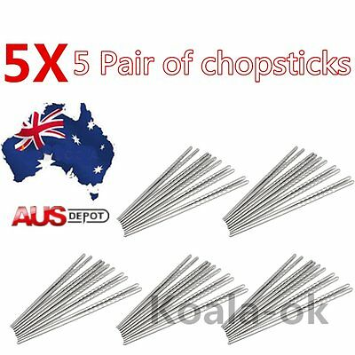 10X 5 Pairs of Stainless Steel Chopsticks Anti-skip Thread Style Durable Silver#