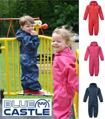 Children Kids Boys Girls Waterproof Breathable Play Rain Suit Hooded Overall