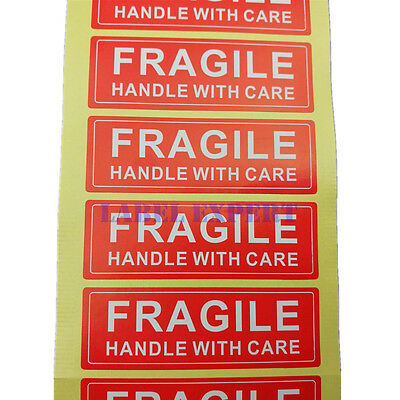 FRAGILE HANDLE WITH CARE Stickers Label, Easy Peel and Apply Lowest Price 1 x 3""