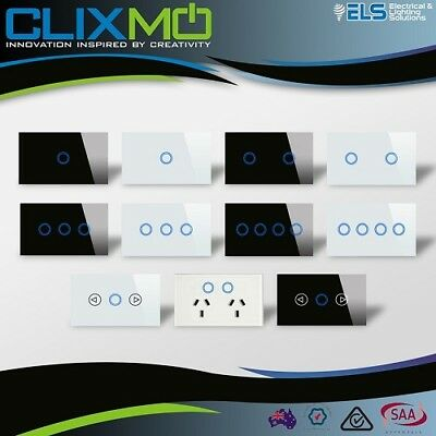 Sapphire Touch Light Switch Power Point Glass Look Saturn GPO LED Clixmo 1 2 3 4