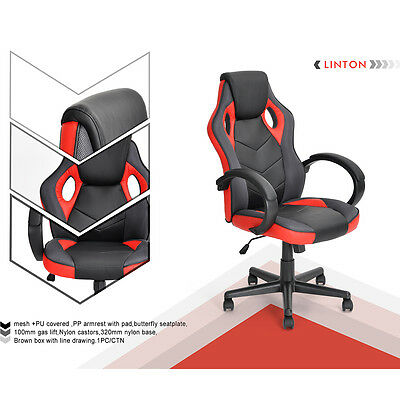 Luxury Executive Office Chair Racing Car Computer Reclining Gaming Pu Leather
