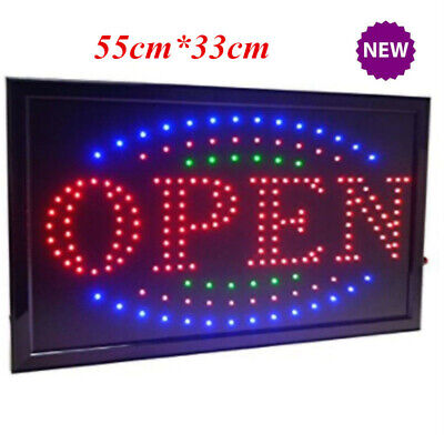 """Flashing """"Open"""" LED Sign 55cm x 33cm - With On/Off Switch On Power Cable AU Plug"""