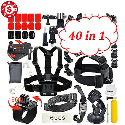 40 in 1 GoPro Hero 5/4/3+/3/2/1 Camera Accessories Outdoor Sports Bundle Kit for