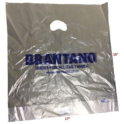 """Clear Misprinted Patch Handle Plastic Carrier Bags 17"""" x 18"""" x 3""""  Boutique 1000"""