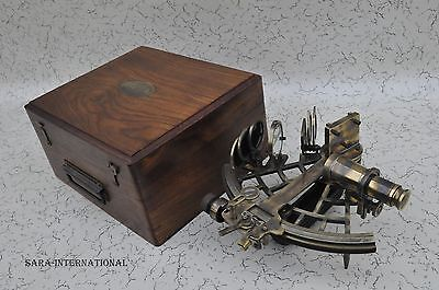 100%Working Nautical Reproduction Micrometer Drum Readout Brass Sextant With Box