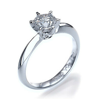 1 ct F SI3 AUTHENTIC Diamond Engagement Ring 18K White Gold - SIZE Q