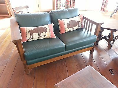 Sam Moore Leather & Oak Mission Arts & Crafts Era Sofa Pair