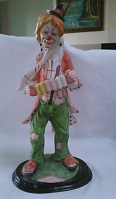 Vintage Hobo Clown Playing Accordion Stand In Wood Platform