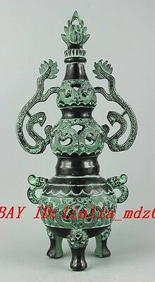 13 inch/ Asia Collectible Decorated Old Handwork Carving Bronze Ssangyong Censer