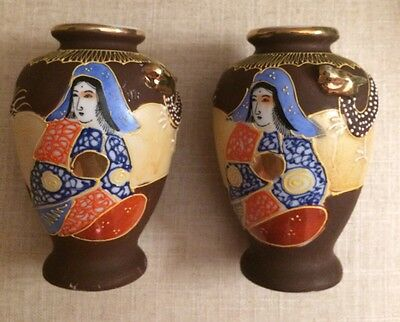 Pair of Antique Vintage Japanese Satsuma Vases with Geisha and Dragon