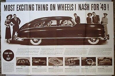1949 NASH AIRFLYTE HUGE LOCAL DEALER POSTER-AD, (NEWSPAPER INSERT-STYLE). Rare!
