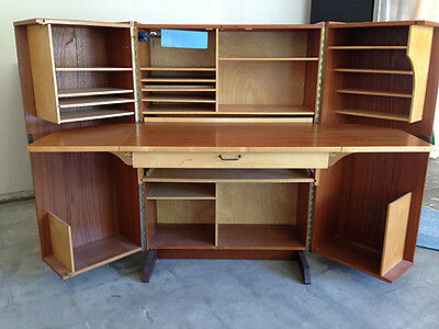 Mid-Century Danish Modern Teak Folding Cube Desk/Workcenter