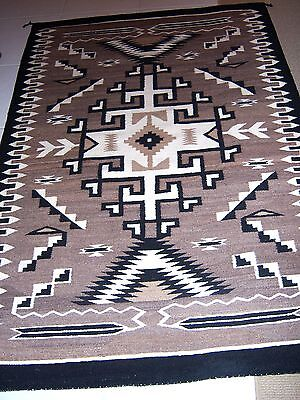 """NAVAJO Native American Indian """"TWO GREY HILLS"""" Weaving Rug Tapestry 47""""X 68"""""""