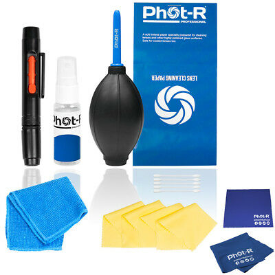 Phot-R 10in1 Hurricane Blower Lens Pen Camera Cleaning Microfibre Chamois Cloth