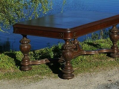 Rockford, Ill. Furniture Co Dining Table Carved Antique Dinner Large