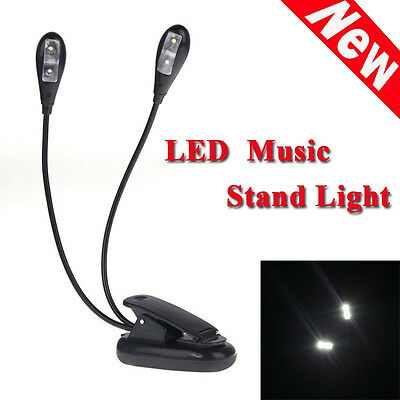2 Dual Flexible Arms 4 LED Clip-on Light Lamp for Piano Music Stand Book Up