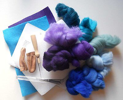 Basic Needle Felting Kit - Peacock 9 colours