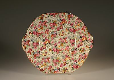 "Lord Nelson Ware ""Marian"" Chintz Double Handled Cake Plate, England c. 1938"