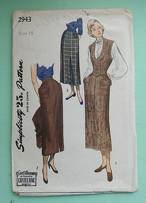 Vintage Simplicity Pattern 2943 Size 16 Misses Skirt and Weskit. 1940s