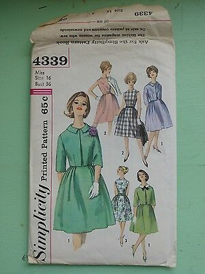 Vintage Simplicity 1950s Misses One-Piece Dress and Jacket w Detachable Collar