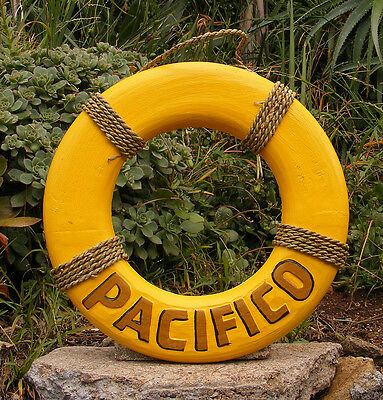 Pacifico Wood Life Ring Beer Sign Nautical Tiki Bar Pub Man Cave 15""