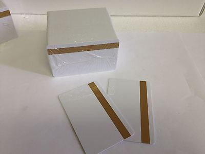 100 UltraCard White CR80 .30 mil - PVC Cards Hi Co 2 Track - Gold Mag Stripe