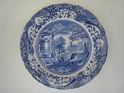 SPode Italian Blue Dinner Plate with Removable Wall Hanging-Made in England