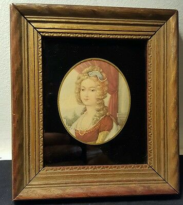 Antique Portrait Of A Lady in Gold Colored Wood Frame