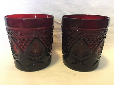pair of red glass 9-10 oz tumblers Cristal D'Arques Arcoroc Durand France