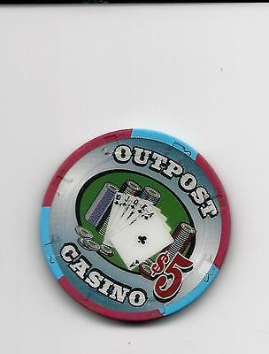 Casino Poker Chip Outpost $5 Royal Flush Chip  San Ramon..obsolete Chip