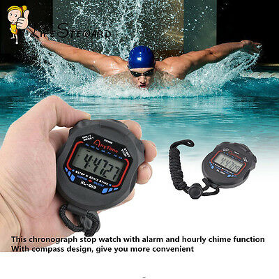 Waterproof Digital LCD Stopwatch Running Sport Timer Counter Chronograph Alarm