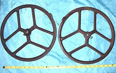 PAIR-Primitive Cast Iron gear pulleys vintage farm/barn wheels Industrial Punk