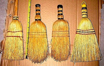 Lot of 4 Vtg Whisk Straw Brooms Hand Held Fire Place Country Kitchen Primitive